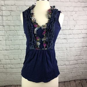 Anthropologie Deletta Blue Floral Ruffle Top Small